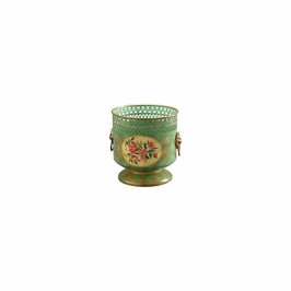 382532 Chelsea House Floral Cachepot - Green-Green - Old Gold Trim
