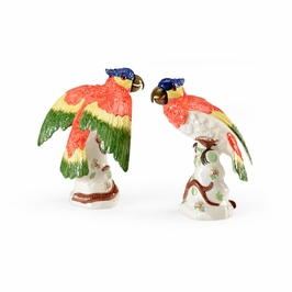 382632 Chelsea House Flying Parrots (Pair)-Euro Ceramic