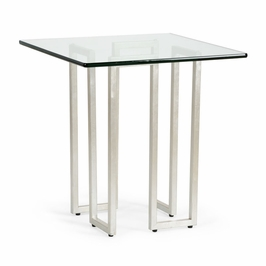 382793 Chelsea House Athens End Table - Silver-Iron - Clear Plain Glass