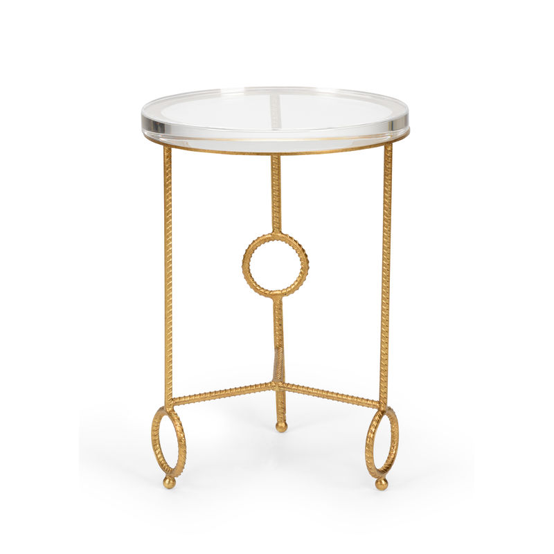 383178 Chelsea House Yonkers Side Table   Acrylic Antique Gold Leaf Iron  Table With Clear Acrylic Top