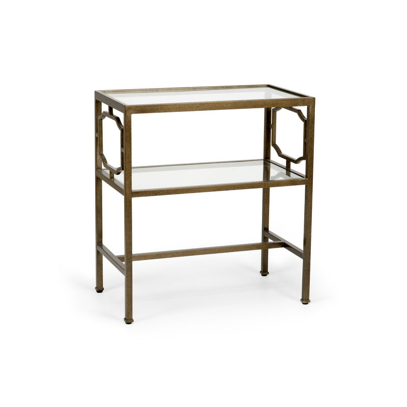 383182 Chelsea House French Side Table   Bronze Bronze Finished Iron Two Tiered  Table With Clear Glass Shelves
