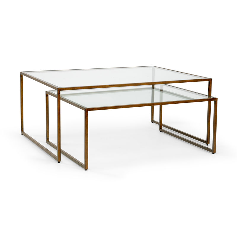 Exceptional 383186 Chelsea House Nesting Coffee Table   Bronze Bronze Finished Iron Nesting  Tables With Clear Beveled Glass Small Table 40W X 32D X 16H