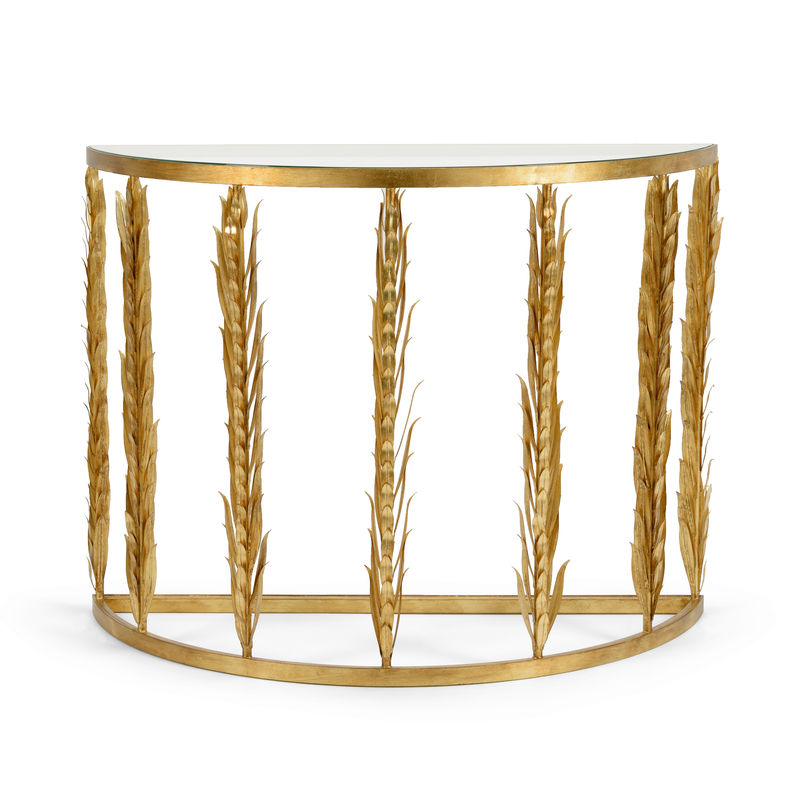 383190 Chelsea House Laurel Demilune Antique Gold Leaf Finished Iron  Console Table With Clear Beveled Glass Top
