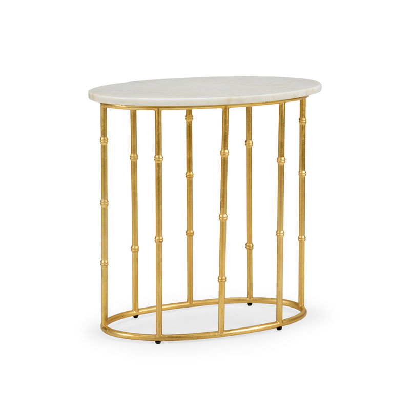 383195 Chelsea House Mallow Bamboo Table Gold Leaf Iron Table With Natural  White Oval Marble Top
