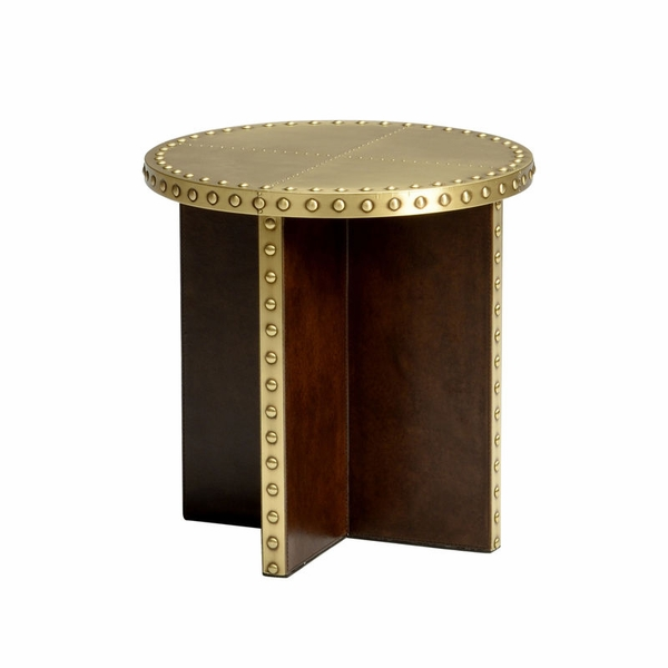 Chelsea House Ramsey Side TableAntique Brass And Leather - Brushed brass side table