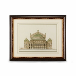 386090 Chelsea House Paris Opera House II-Giclee Print Walnut And Gold Frame With French Mat