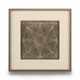386101 Chelsea House Geometric Blue Print II-Giclee Print Single Mat With Silver Frame