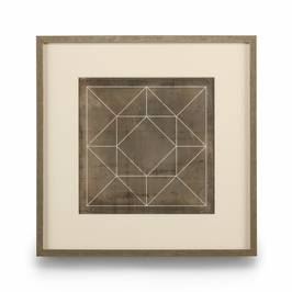 386102 Chelsea House Geometric Blue Print III-Giclee Print Single Mat With Silver Frame