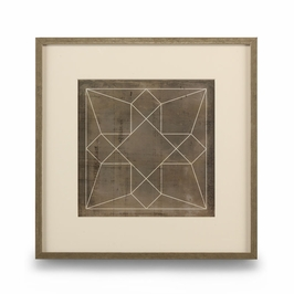 386103 Chelsea House Geometric Blue Print IV-Giclee Print Single Mat With Silver Frame