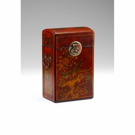 391911 Wildwood Hand Decorated Leather On Wood Wine Box