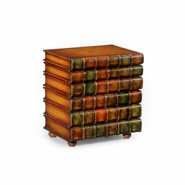 394906 Wildwood Hand Antiqued Leather On Wood Book Chest
