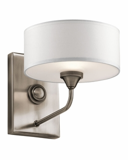 43843CLP Kichler Transitional Lucille Wall Sconce 1Lt (classic pewter)