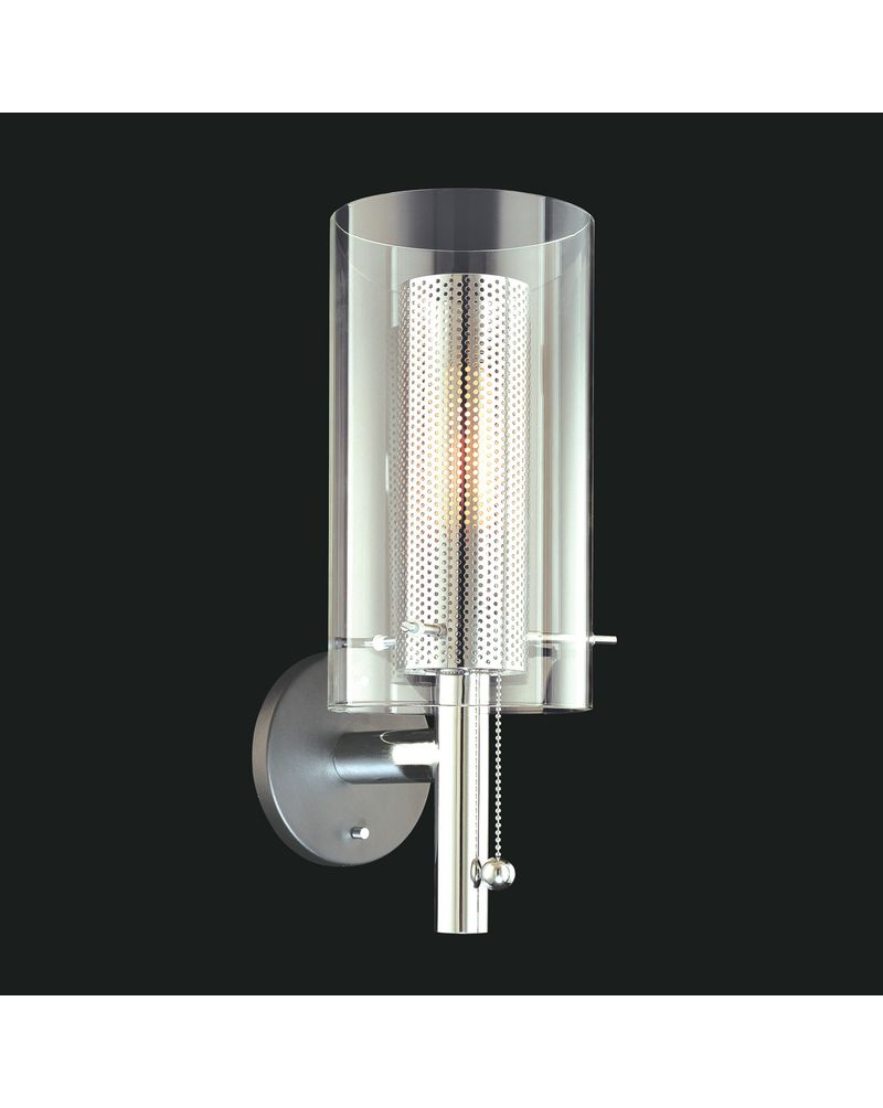 Wall Sconce Chrome Finish : 4391.57 Sonneman Zylinder Contemporary Wall Sconce with Black & Chrome Finish
