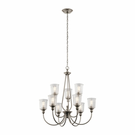 43948CLP Kichler Traditional Waverly Chandelier 9Lt - Classic Pewter