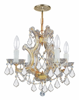 4474-GD-CL-S Crystorama Maria Theresa 4 Light Swarovski Strass Crystal Gold Mini Chandelier II
