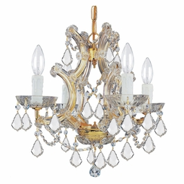 Crystorama Maria Theresa 4 Light Swarovski Strass Crystal Gold Mini Chandelier II