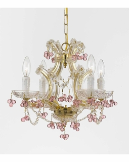 4474-GD-ROSA Crystorama Maria Theresa 4 Light Rosa Crystal Gold Mini Chandelier