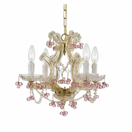 Crystorama Maria Theresa 4 Light Rosa Crystal Gold Mini Chandelier