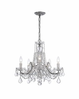4476-CH-CL-MWP Crystorama Maria Theresa 5 Light Clear Crystal Chrome Chandelier