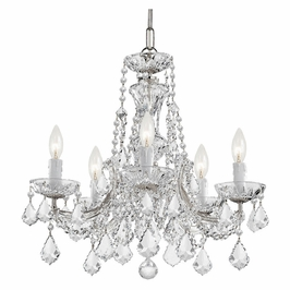 Crystorama Maria Theresa 5 Light Clear Crystal Chrome Mini Chandelier