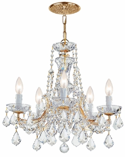 4476-GD-CL-S Crystorama Maria Theresa 5 Light Clear Swarovski Strass Crystal Gold Chandelier