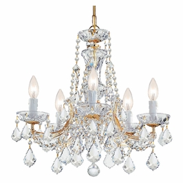 Crystorama Maria Theresa 5 Light Clear Swarovski Strass Crystal Gold Mini Chandelier
