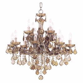 Crystorama Maria Theresa 12 Light Golden Teak Swarovski Strass crystal Chandelier