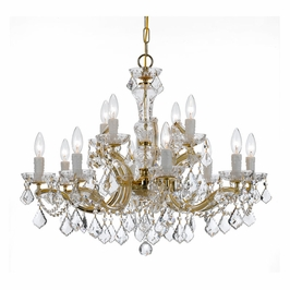 Crystorama Maria Theresa 12 Light Swarovski Strass Crystal Gold Chandelier