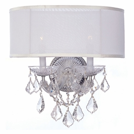 Crystorama Brentwood 2 Light Clear Crystal Chrome Sconce