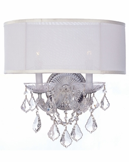 4482-CH-SMW-CL-SAQ Crystorama Brentwood 2 Light Spectra Crystal Chrome Sconce