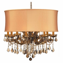 Crystorama Brentwood 12 Light Drum Shade Brass Chandelier - Golden Teak Swarovski Strass