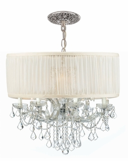 4489-CH-SAW-CLM Crystorama Brentwood 12 Light Drum Shade Chrome Chandelier
