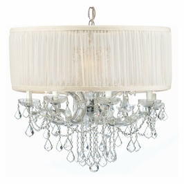 Crystorama Brentwood 12 Light Drum Shade Chrome Chandelier - Swarovski Spectra