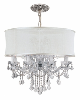 4489-CH-SMW-CLQ Crystorama Brentwood 12 Light Smooth Shade Chrome Chandelier - Swarovski Spectra