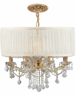 4489-GD-SAW-CLM Crystorama Brentwood 12 Light Drum Shade Gold Chandelier