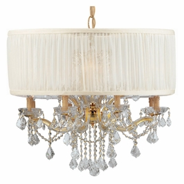 Crystorama Brentwood 12 Light Drum Shade Gold Chandelier