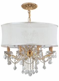 4489-GD-SMW-CLS Crystorama Brentwood Chandelier Draped In Clear Swarovski Elements Crystal & Accented with a Smooth Antique White Silk Shade