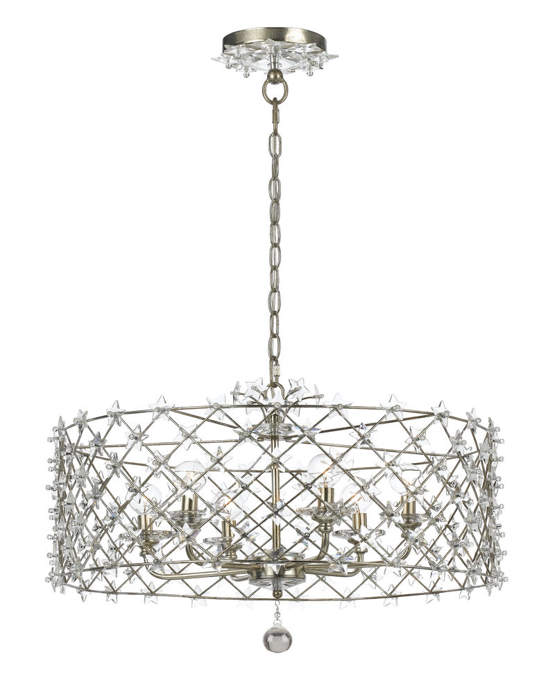 449 sa crystorama willow antique silver wrought iron chandelier 449 sa crystorama willow antique silver wrought iron chandelier star shaped clear crystal accents aloadofball Image collections
