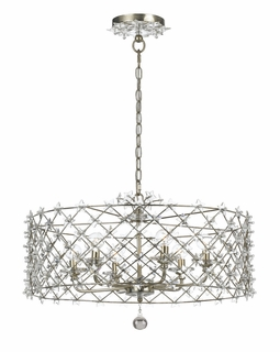 449-SA Crystorama Willow Antique Silver Wrought Iron Chandelier - Star Shaped Clear Crystal Accents