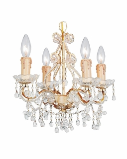 4504-CM-CLEAR Crystorama Paris Flea Market Mini Chandelier Adorned with Clear Murano Crystal