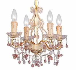 4504-CM Crystorama Paris Flea Market Mini Chandelier Adorned with Rose Colored Murano Crystal