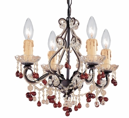 4504-DR Crystorama Paris Market 4 Light Murano Crystal Dark Rust Mini Chandelier
