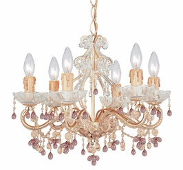 4507-CM Crystorama Paris Flea Market Chandelier Adorned with Rose Colored Murano Crystal