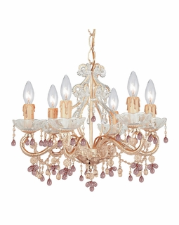 4507-CM-ROSA Crystorama Paris Market 6 Light Rose Murano Crystal Champagne Mini Chandelier