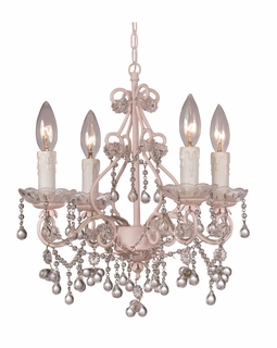 4514-BH-CL Crystorama Paris Market 4 Light Murano Crystal Blush Mini Chandelier