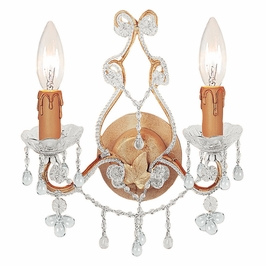 Crystorama Paris Market 2 Light Clear Crystal Champagne Sconce