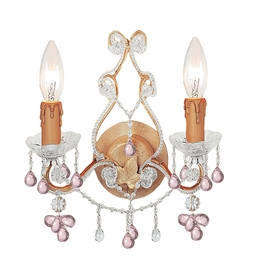 4522-CM Crystorama Paris Flea Market Sconce Adorned with Rose Colored Murano Crystal