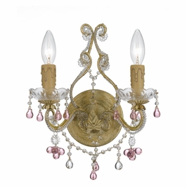 Crystorama Paris Market 2 Light Rose Crystal Champagne Sconce