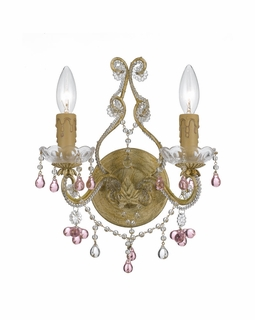 4522-CM-ROSA Crystorama Paris Market 2 Light Rose Crystal Champagne Sconce