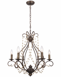 456-EB Crystorama Angelina 6 Light English Bronze Chandelier
